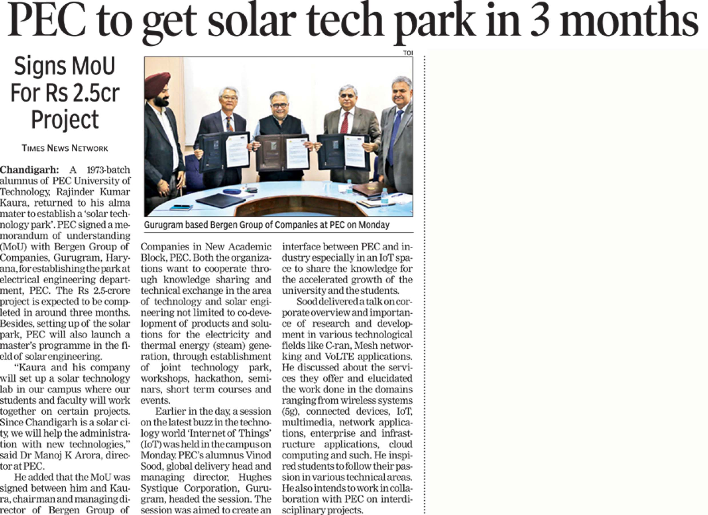 TOI news article- MOU signed between Bergen and PEC